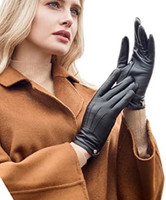 YISEVEN Women's Touchscreen Sheepskin Leather Gloves Three Points Button Cuff