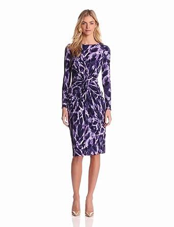Jones New York Women's Long Sleeve Print Dress, Amethyst/Multi, 8
