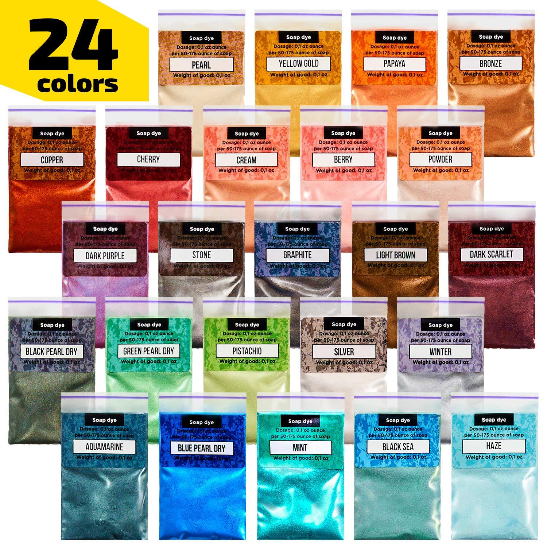 Epoxy Resin Dye - Mica Powder - 24 Powdered Pigments Set - Soap Dye - Hand Soap Making Supplies - Eyeshadow and Lips Makeup Dye - Slime Pigment by Soap Shop