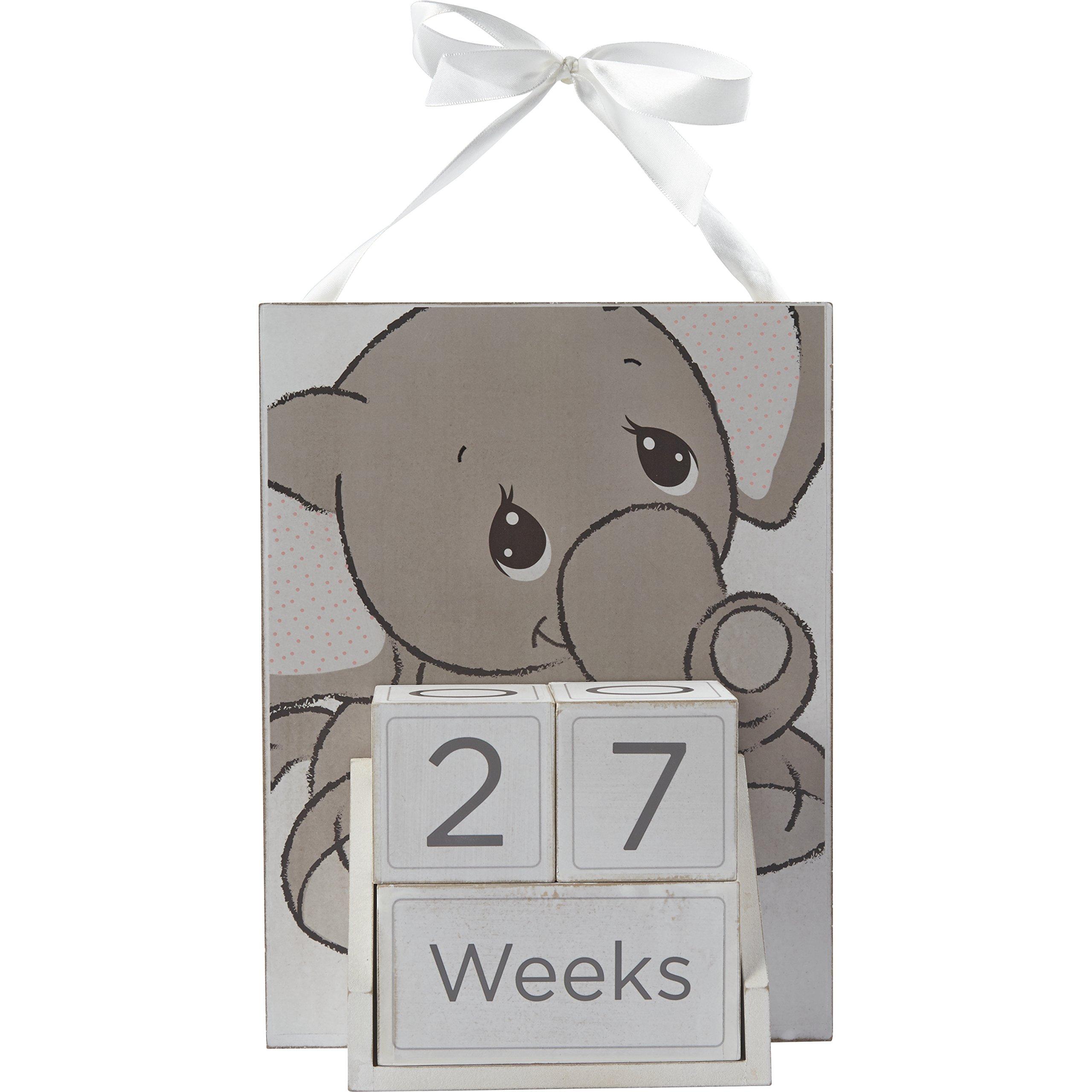 Precious Moments 172424 Elephant Baby Milestones Photo Prop Block Set & Wall Display