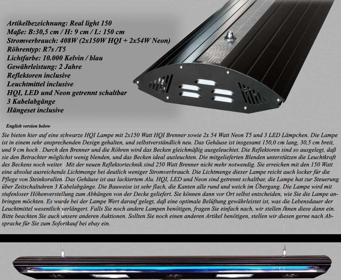 Bio-PUR Aquarien-Hängelampe Real Light HQI Leuchte 2x150W+ 2x54W T5 150cm - Schwarz