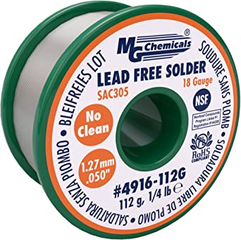 MG Chemicals SAC305, 96.3% Tin, 0.7% Copper, 3% Silver, Lead Free Solder, No clean, 1.27mm, 0.05