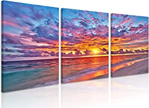 Natural art Ocean Painted by Sunset Glow Pictures for Dinning Room Office Bar Wall Decor Seascape Prints Wall Art Framed 12x16 Inch 3 Panels