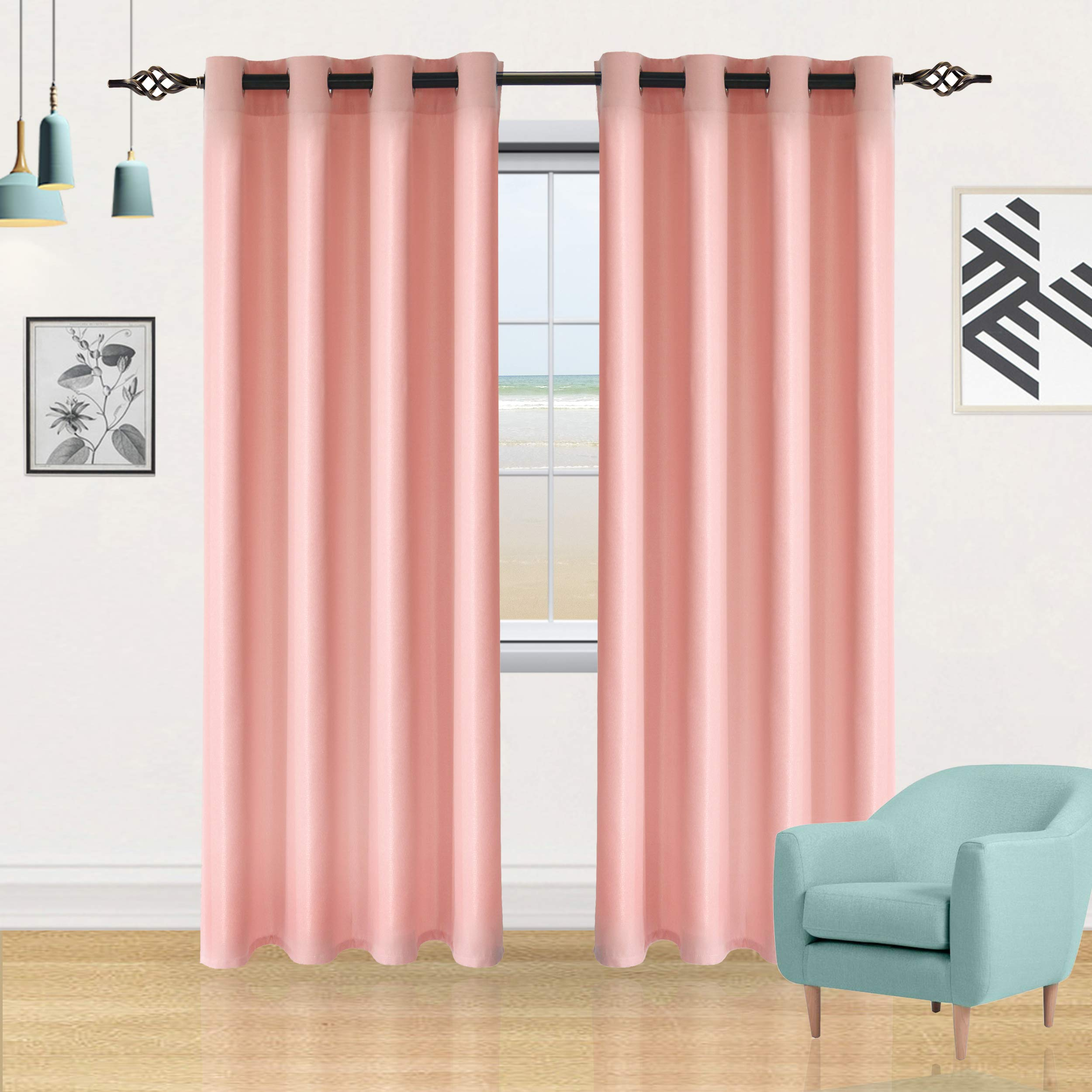 DWCN Semi Sheer Curtains Faux Linen Sunlight Filtering Grommets Country Modern Style Pink Drapes, Set of 2 52x84 Inch Long Window Curtain for Bedroom