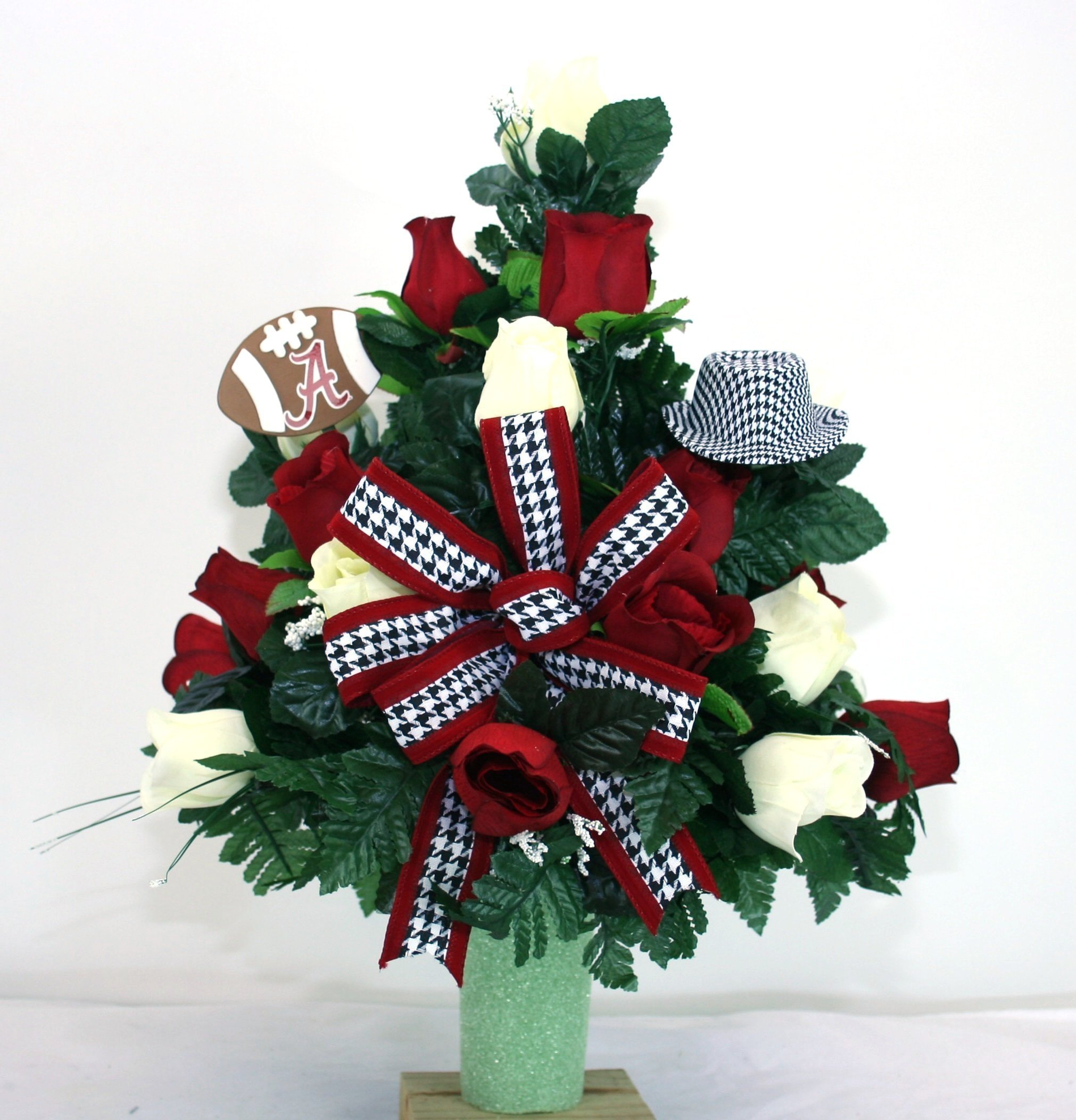 Alabama-Crimson-Tide-Fan-Vase-Cemetery-Flower-Arrangement