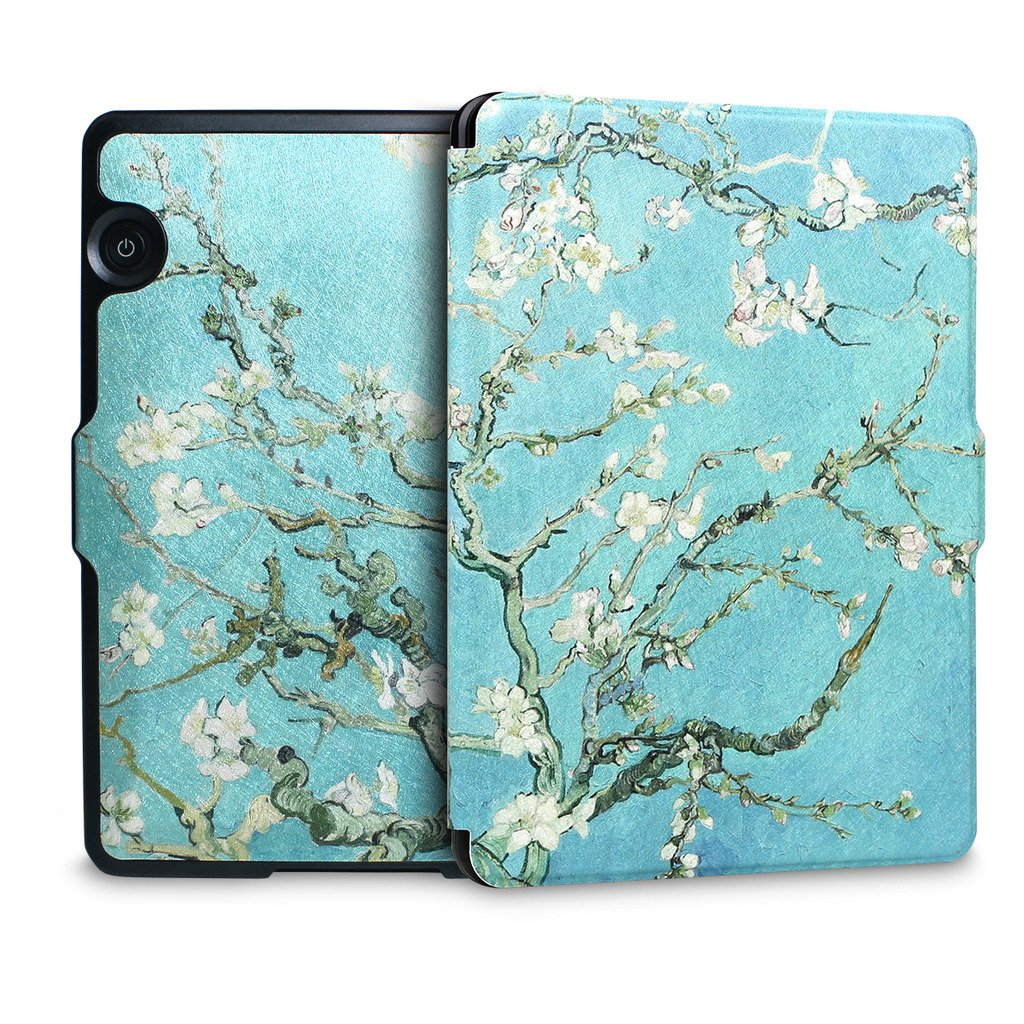 Walnew Protective case for Amazon Kindle Voyage(2014) The Thinnest and Lightest Colorful Painting PU Leather Cover with Auto Sleep/Wake Function,Tree and Flower by WALNEW (Image #4)