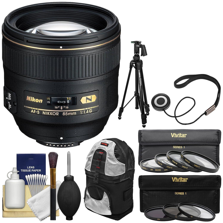Nikon 85 Mm F / 1.4 G af-s Nikkorレンズwithバックパック+三脚+ UV/CPL / nd8 &マクロフィルタキットfor d3200、d3300、d5300 , d5500、d7100、d7200、d610、d750、d810、d4sカメラ   B0134MEOH0
