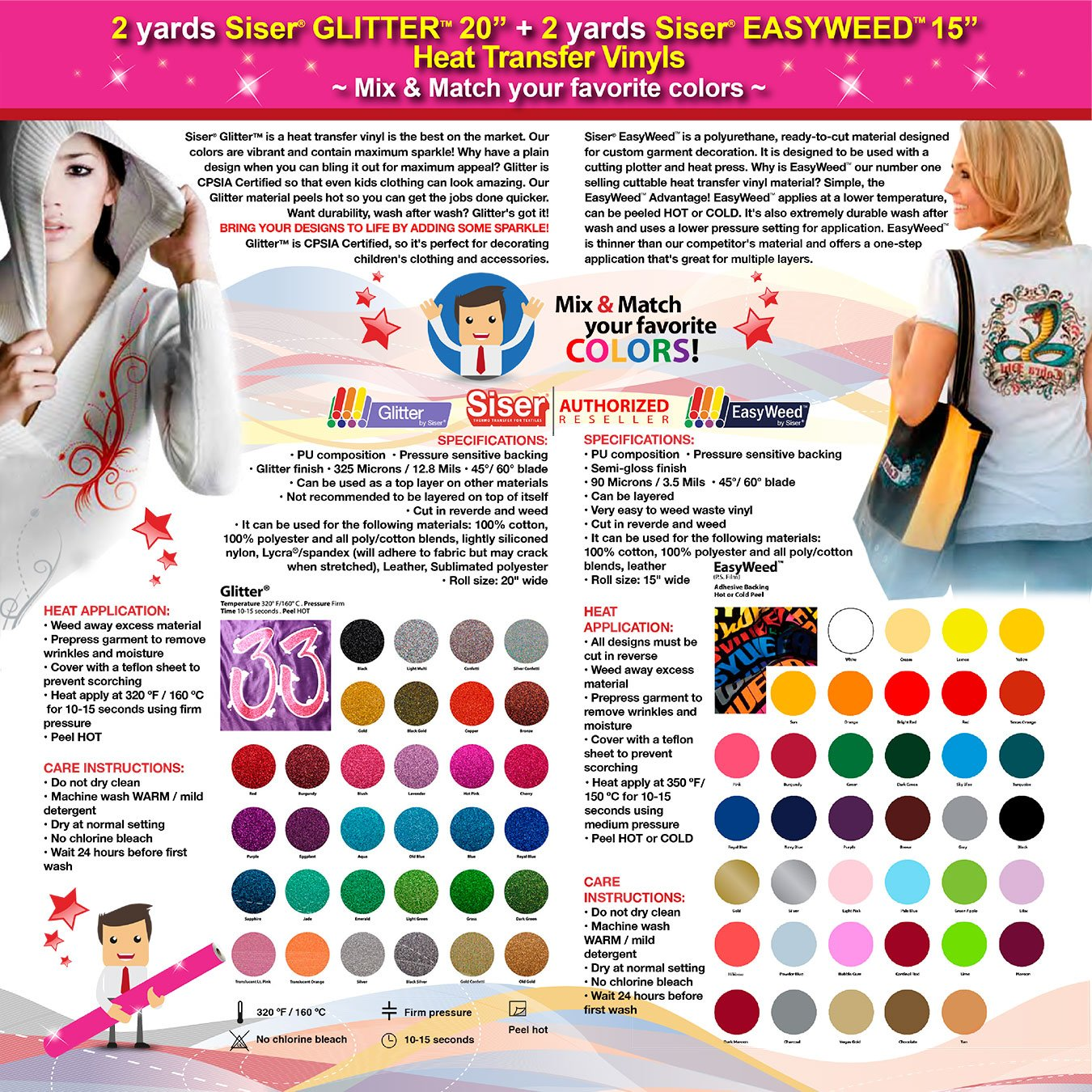 GERCUTTER Store: 2 yards SISER GLITTER + 2 yards SISER EASYWEED Heat Transfer Vinyl on Cotton or Polyester Mesh and Poly-blend Fabrics (Mix & Match your favorite colors)