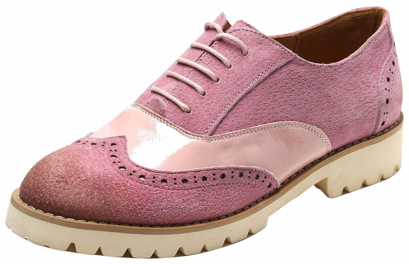 Ulite Womens Classic Perforated Suede Leather Lace-up Low Heel Oxfords, Comfortable Casual Walking Oxfords Pink8.5
