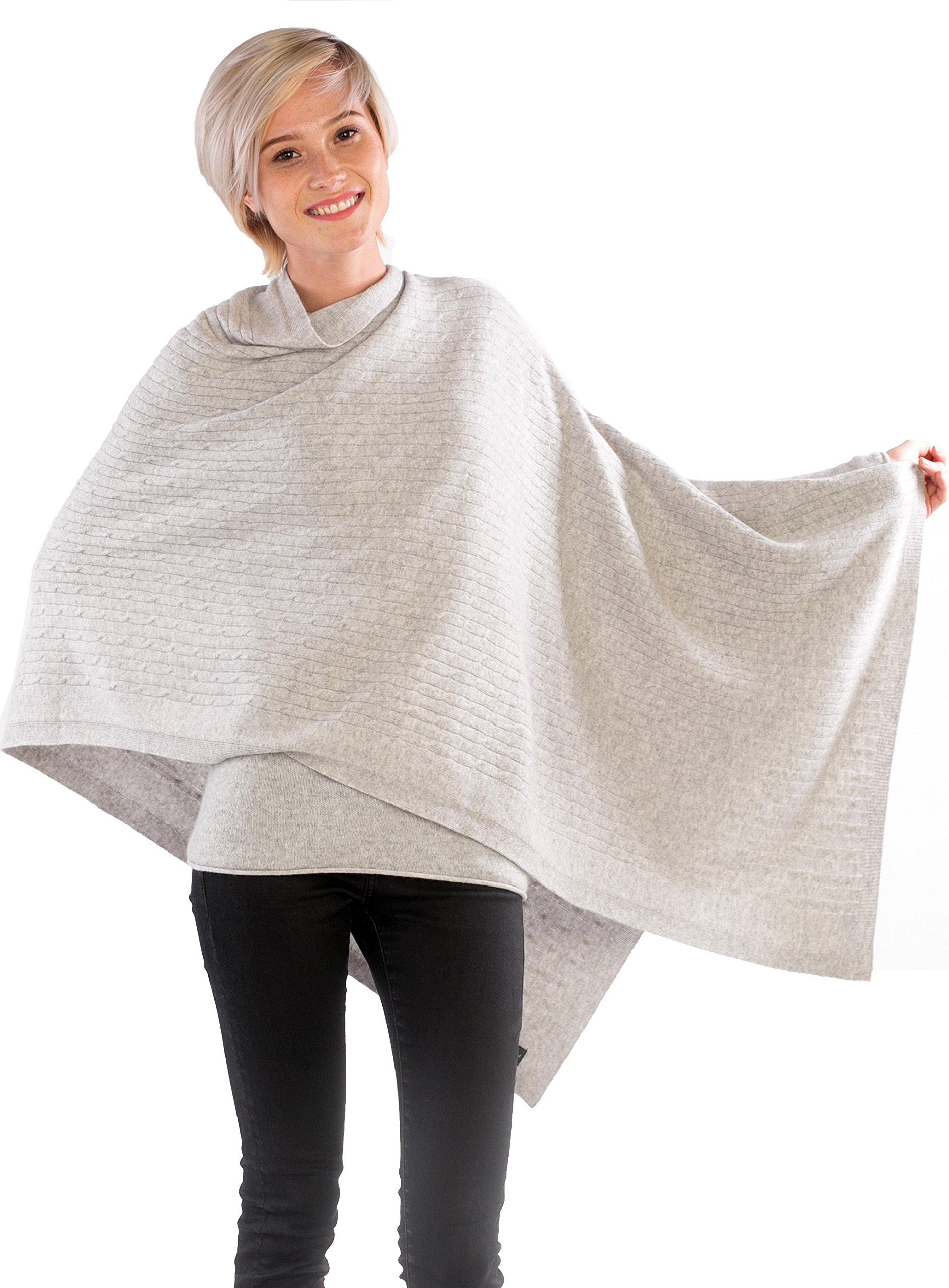cashmere 4 U Women's 100% Cashmere Wrap Multi Use Shawl Extra Large Button Scarf