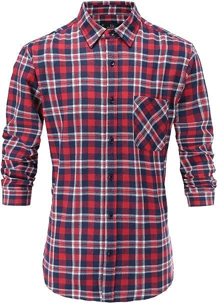Emiqude Men/'s Slim Fit 100/% Cotton Casual Long Sleeve Wave Plaid Dress Shirt