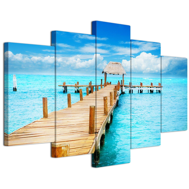 【リブラLibra】 5パネルセット アートパネル インテリアアート 海の景色 キャンバス絵画 (木枠付きの完成品) (L, LP1734) B075VLF7XL Large|LP1734 LP1734 Large