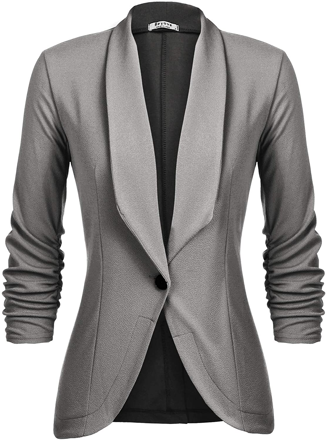 Beyove Women's 3/4 Stretchy Ruched Sleeve Open Front Lightweight Work Office Blazer Jacket with Plus Size (Size S~3XL)