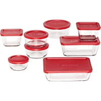 Anchor Hocking Classic Glass Food Storage Containers with Lids, Red, 16-Piece Set