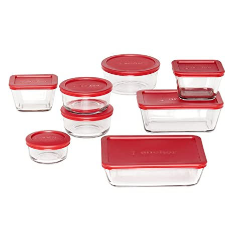 Anchor Hocking Classic Glass Food Storage Containers With Lids, Red,  16 Piece Set