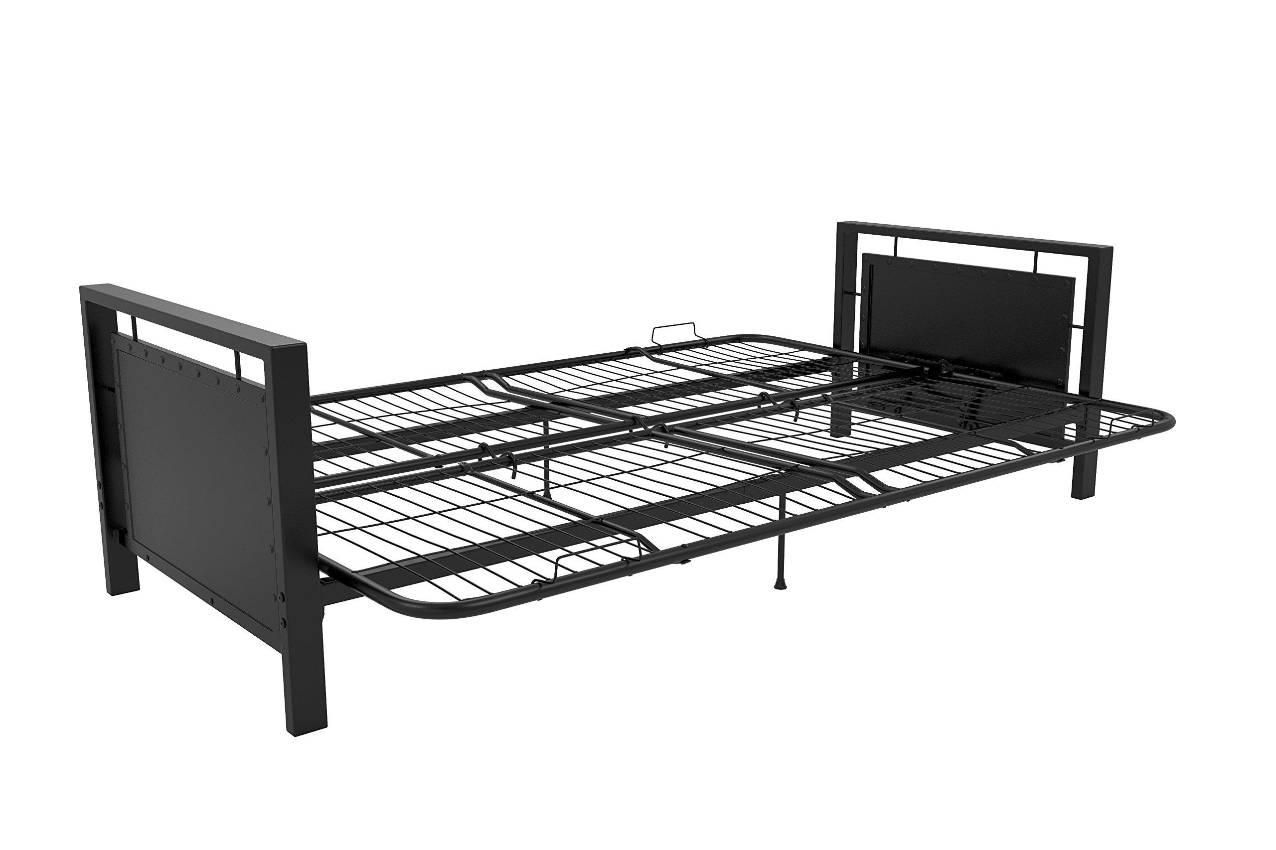 DHP Henley Metal Arm Futon Frame, Industrial Loft Design, Converts to Sleeper, Black Sturdy Metal by DHP (Image #2)