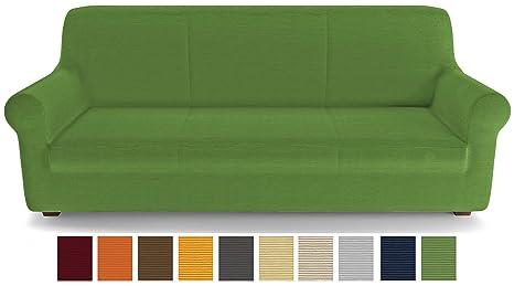 PETTI Artigiani Italiani Verde, 3 Plazas, Funda de Sofa Elastica, 100% Made in Italy, Tela Lineal, (170 a 250 cm)