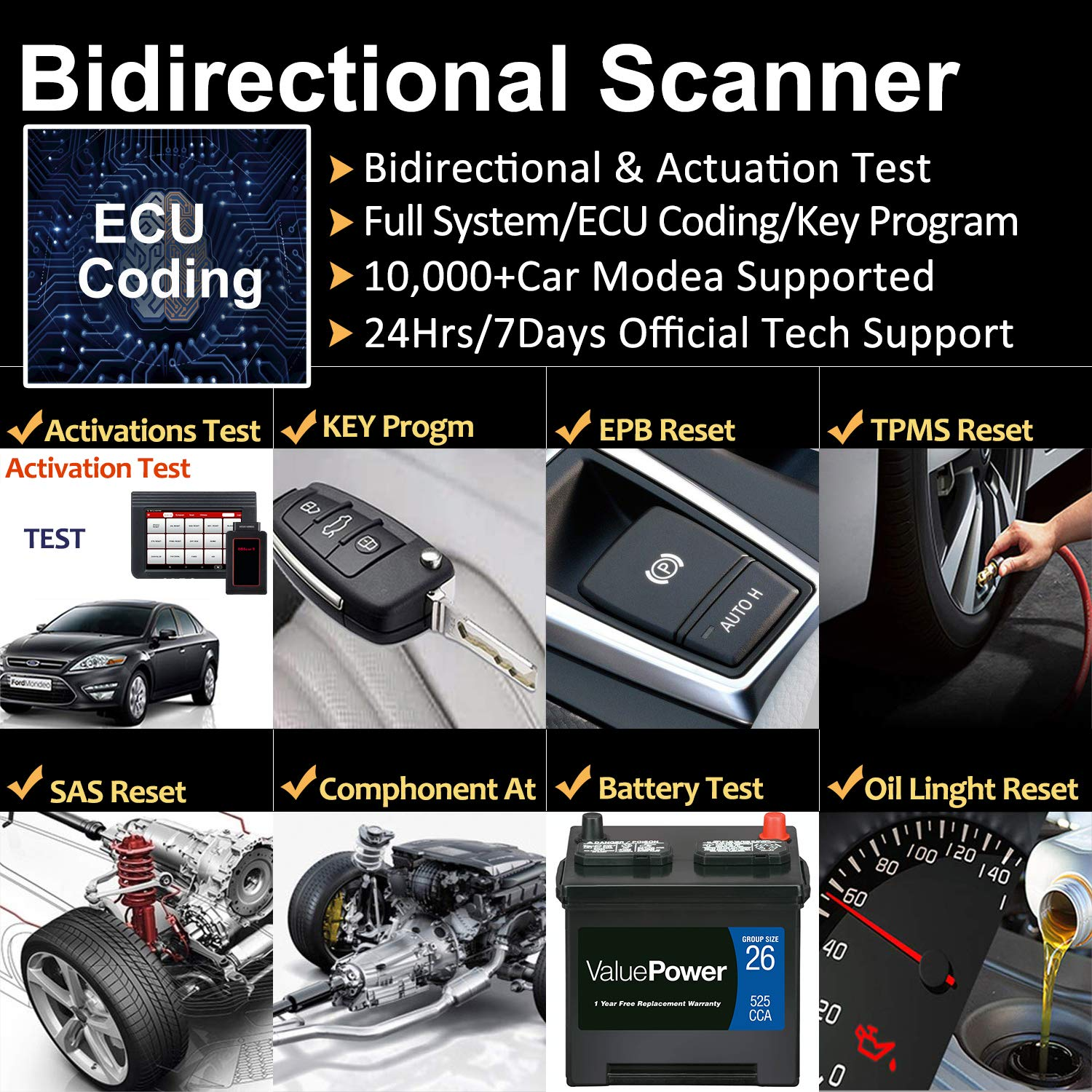 LAUNCH X431 V (X431 Pro) Bi-Directional OBD2 Diagnostic Scanner,ECU Coding Key Fob Programming, ABS Bleeding Brake, Reset Functions Oil Reset, TPMS,EPB, SAS, DPF, BMS, SRS - 2 Years Free Update & Case by LAUNCH (Image #2)