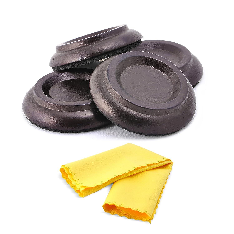 Moozikpro [4 Pcs] Piano Caster Cups – Premium Beech Wood – Non-Slip & Anti-Noise Foam Pad