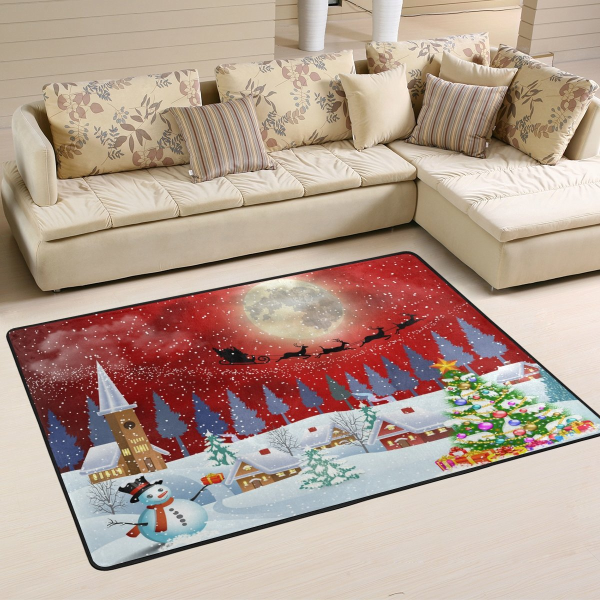 Naanle Winter Landscape Area Rug 1.8'x2.7', Christmas Snowman Tree Santa Clause Reindeer Under The Full Moon Polyester Area Rug Mat for Living Dining Dorm Room Bedroom Home Decorative