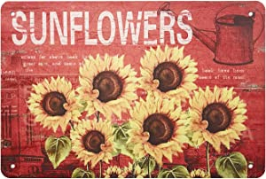 MAIYUAN Sign Designs Six Sunflowers Retro Vintage Tin Bar Sign Country Farm Sunflower Kitchen Wall Home Decor 8X12Inch
