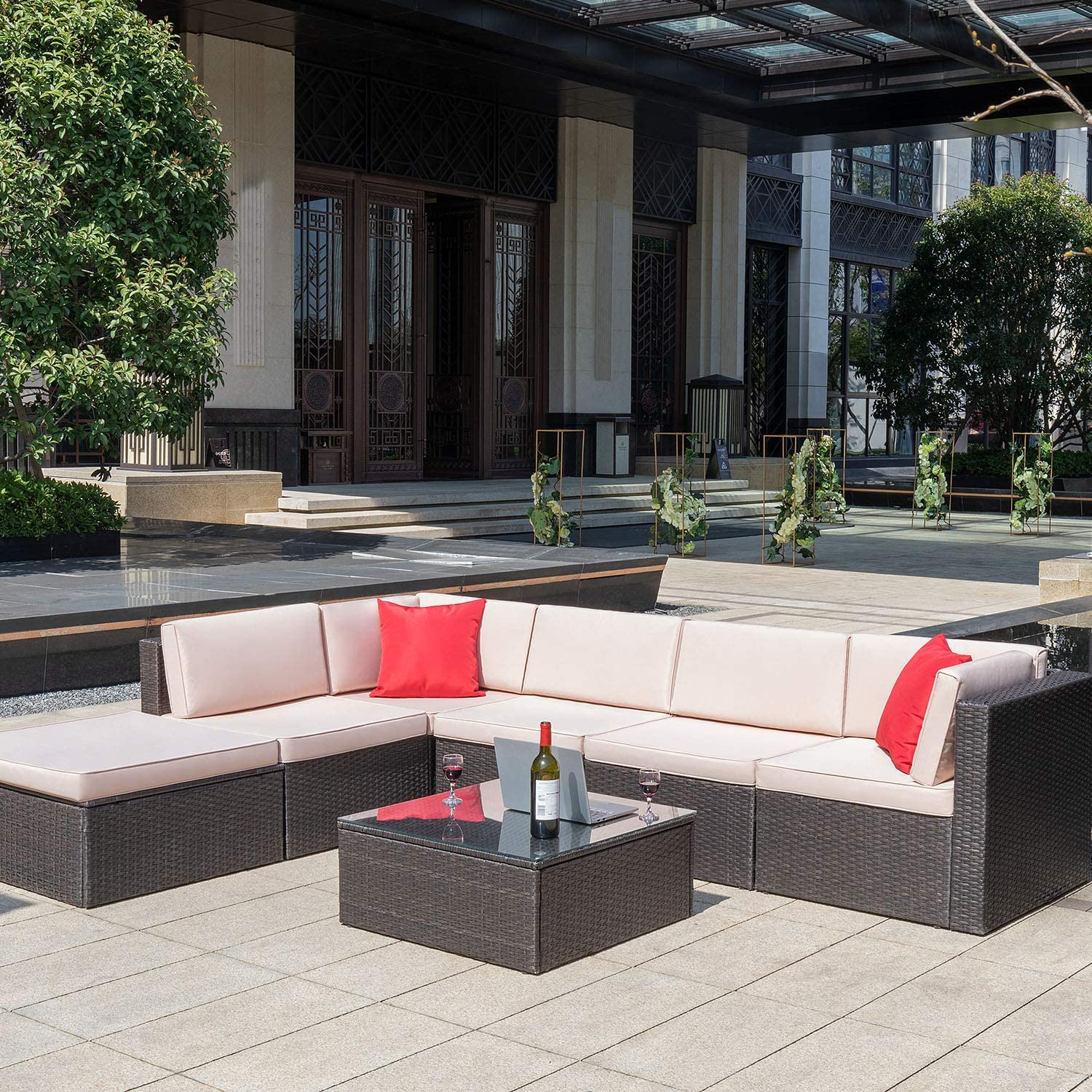 Homall 7 Pieces Outdoor Patio Furniture Sofa Set, All Weather PE Rattan Wicker Sectional Sets Modern Modular Couch Outside Conversation Set with Thick Cushions and Glass Coffee Table Brown