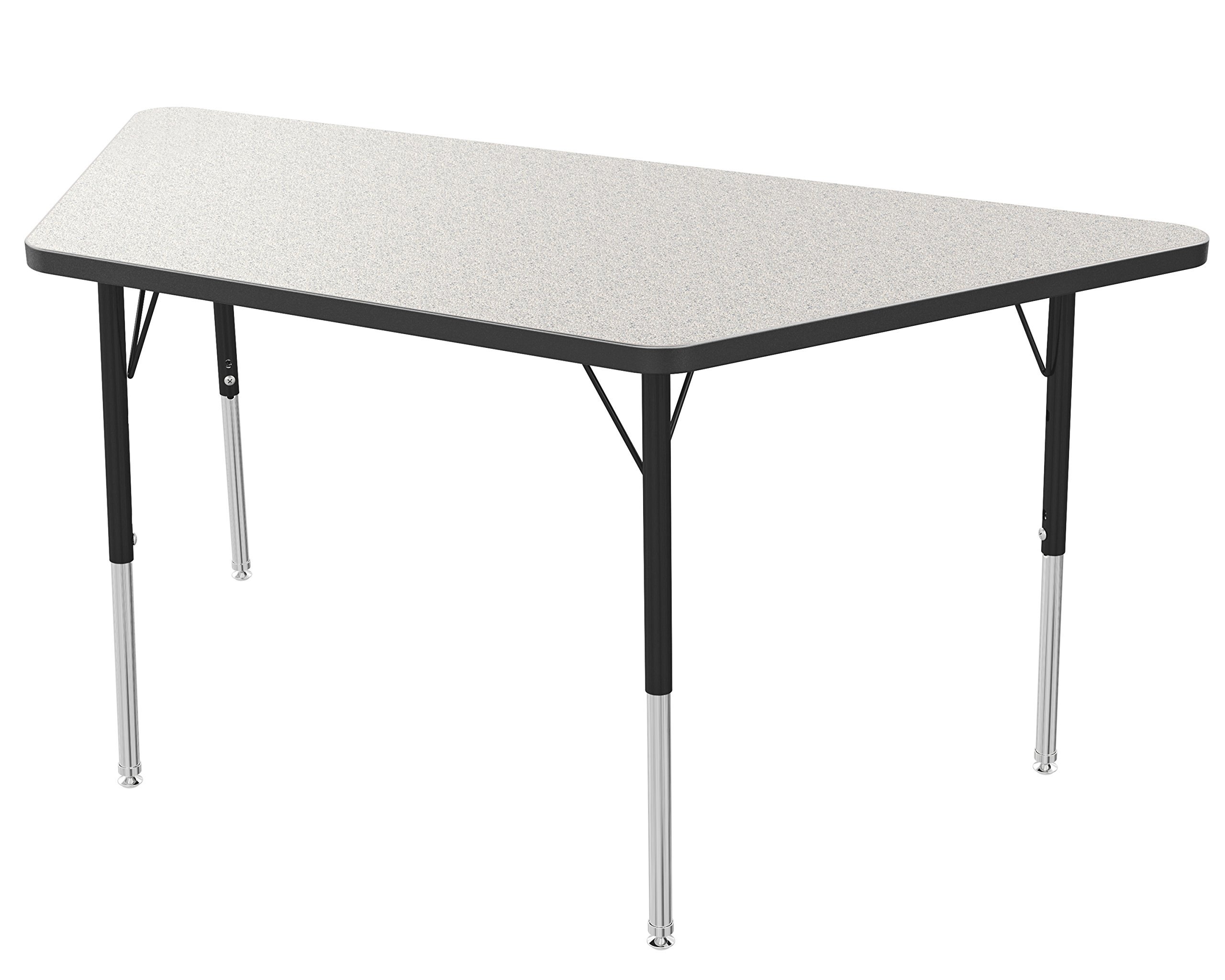 Marco Group Trapezoid Adjustable Activity Table, 24'' Width x 48'' Length, Gray Glace, Black Trim, Standard Legs