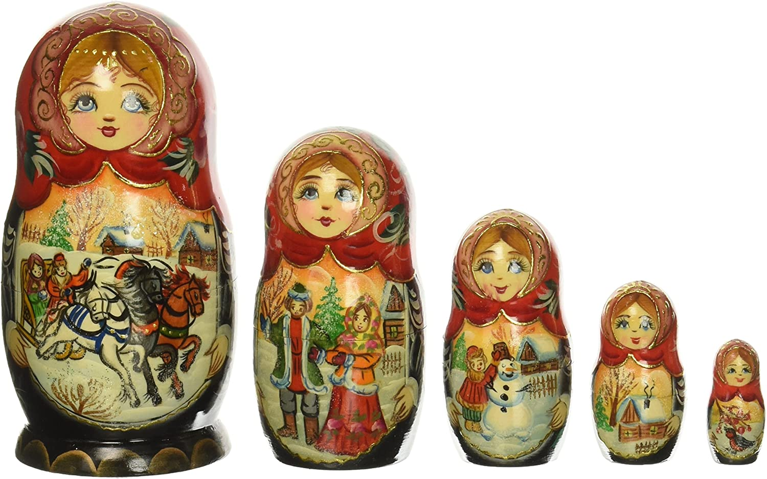New Hand Painted Russian Wooden Doll Matryoshka 5 Piece Set Made In Russia G