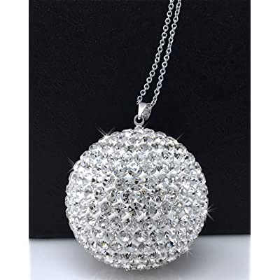 Bling Car Decor Crystal Ball Car Rear View Mirror Charm, Rhinestone Hanging Ornament for Car & Home Decor, Crystal Sun Catcher Ornament, Car Charm Decoration, Bling Car Accessories (Silver): Automotive