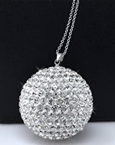 Bling Car Decor Crystal Ball Car Rear View Mirror Charm, Rhinestone Hanging Ornament for Car & Home Decor, Crystal Sun Catcher Ornament, Car Charm Decoration, Bling Car Accessories (Silver)