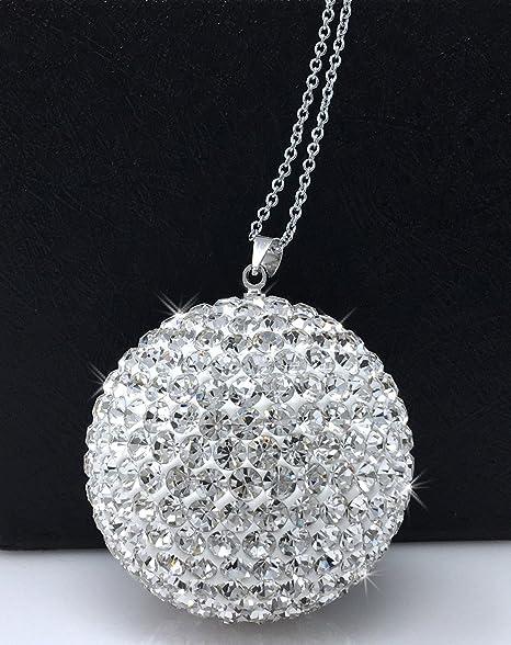 Bling Car Decor Crystal Ball Car Rear View Mirror Charm, Rhinestone Hanging  Ornament For Car