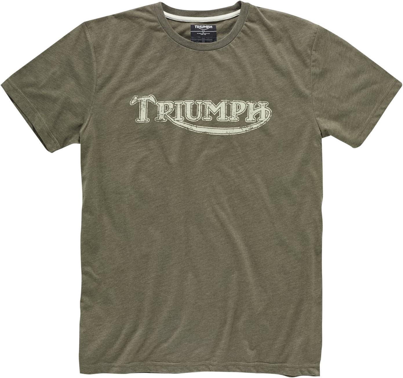 color caqui S Camiseta de motorista con logotipo vintage original de Triumph