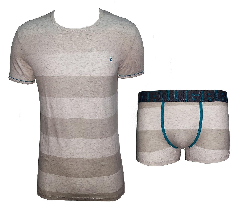 completo intimo uomo t-shirt girocollo + boxer NAVIGARE cotone elasticizzato art. 11550
