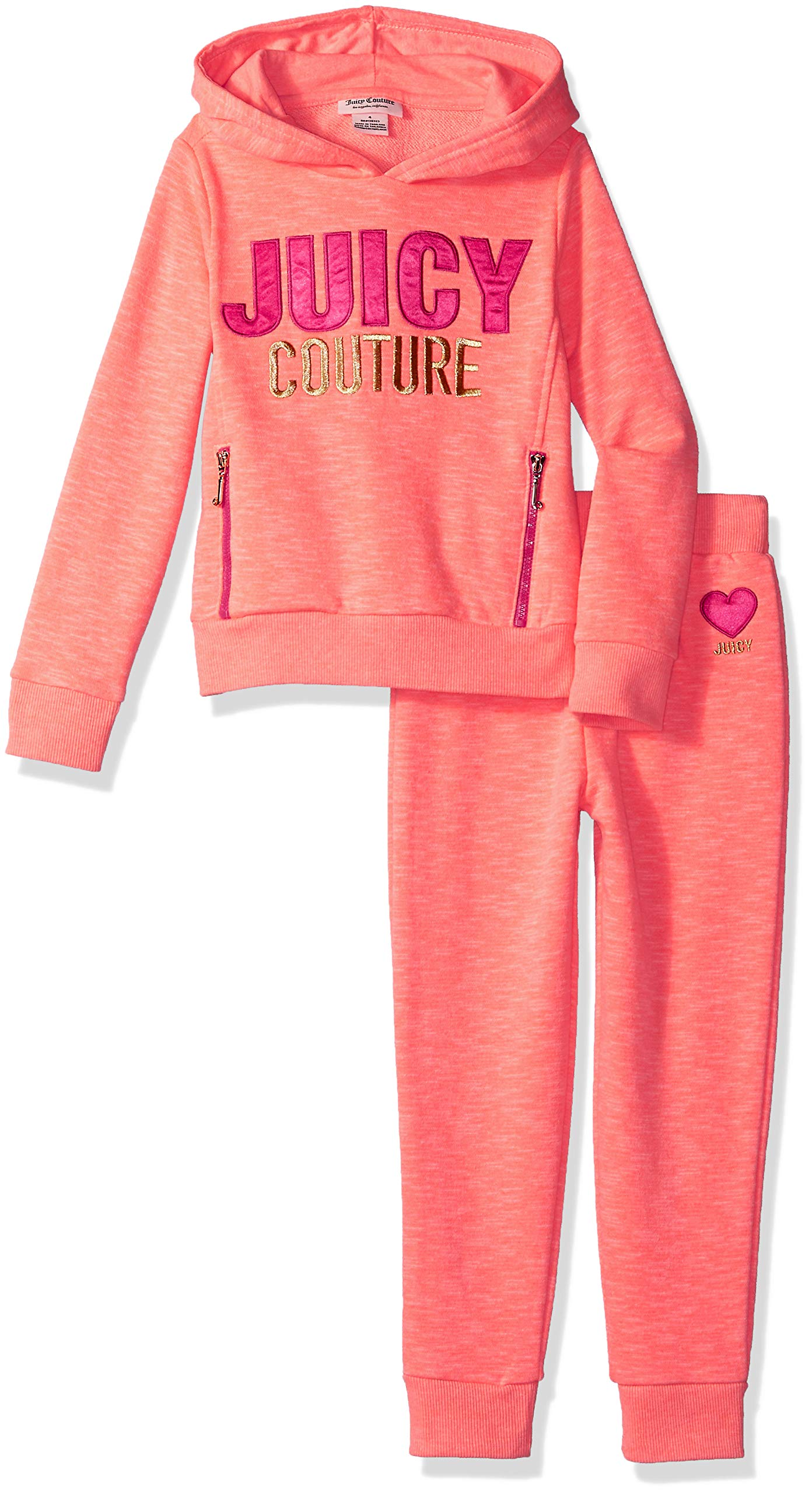 Juicy Couture Girls' Big 2 Pieces Hoody Pants Set, Heather Coral, 7