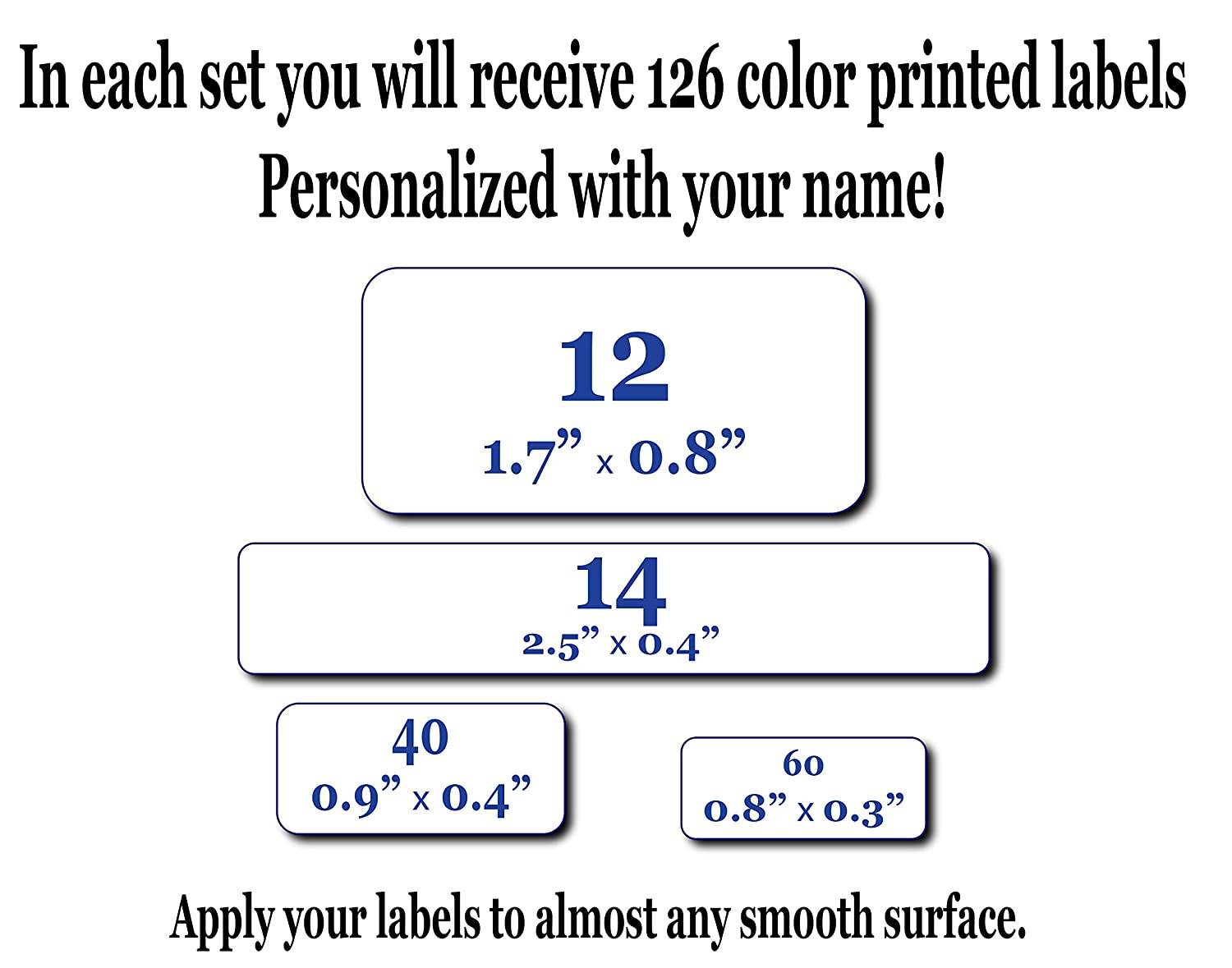 126 Personalized Waterproof Name Labels  Press and Stick Multi use Custom  Name Labels  Highly Durable Customized Name Stickers with Permanent Self