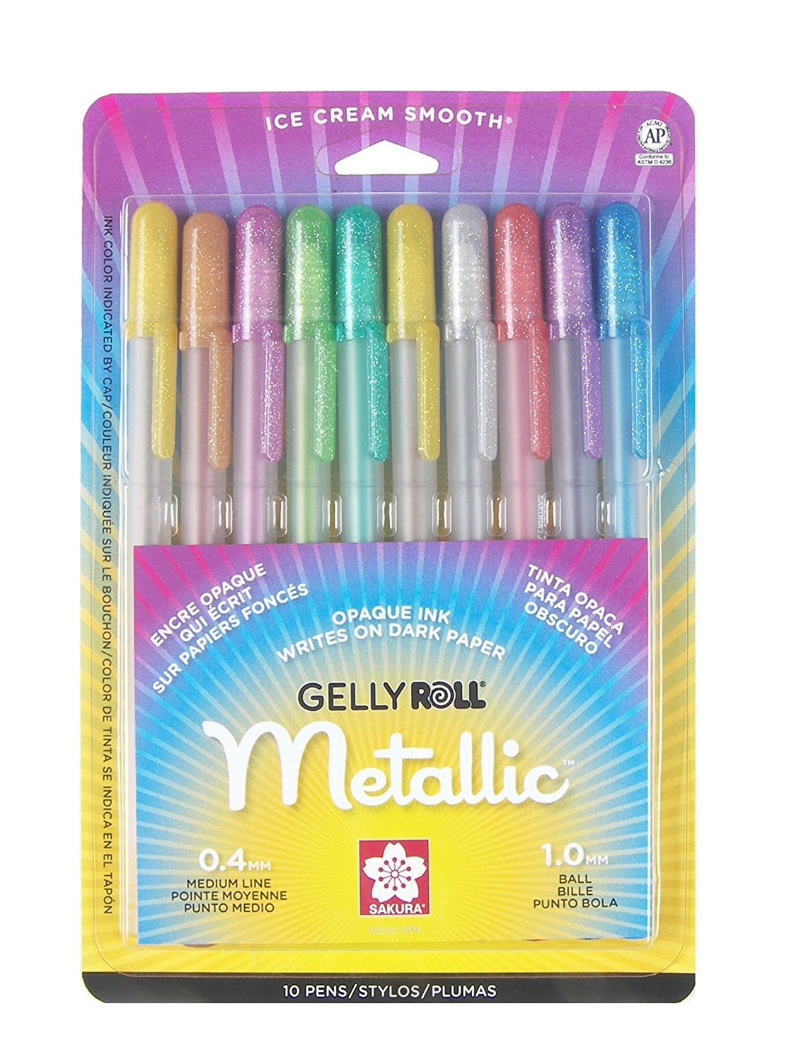 Sakura 57370 10-Piece Gelly Roll Blister Card Assorted Colors Metallic Gel Ink Pen Set (20 Piece)