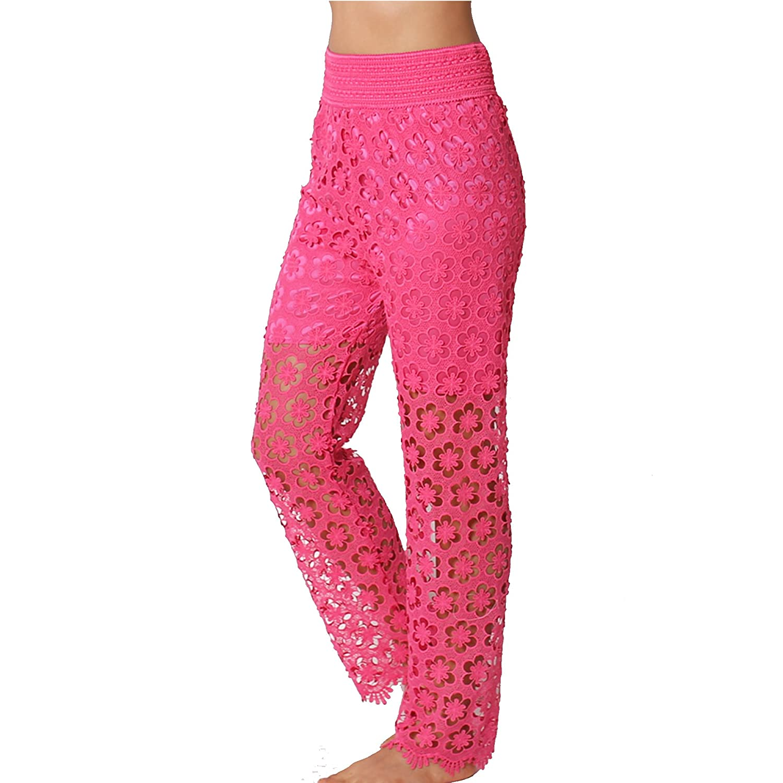 TD Collections Women's Crochet Mesh Full Length Pant TD0P200
