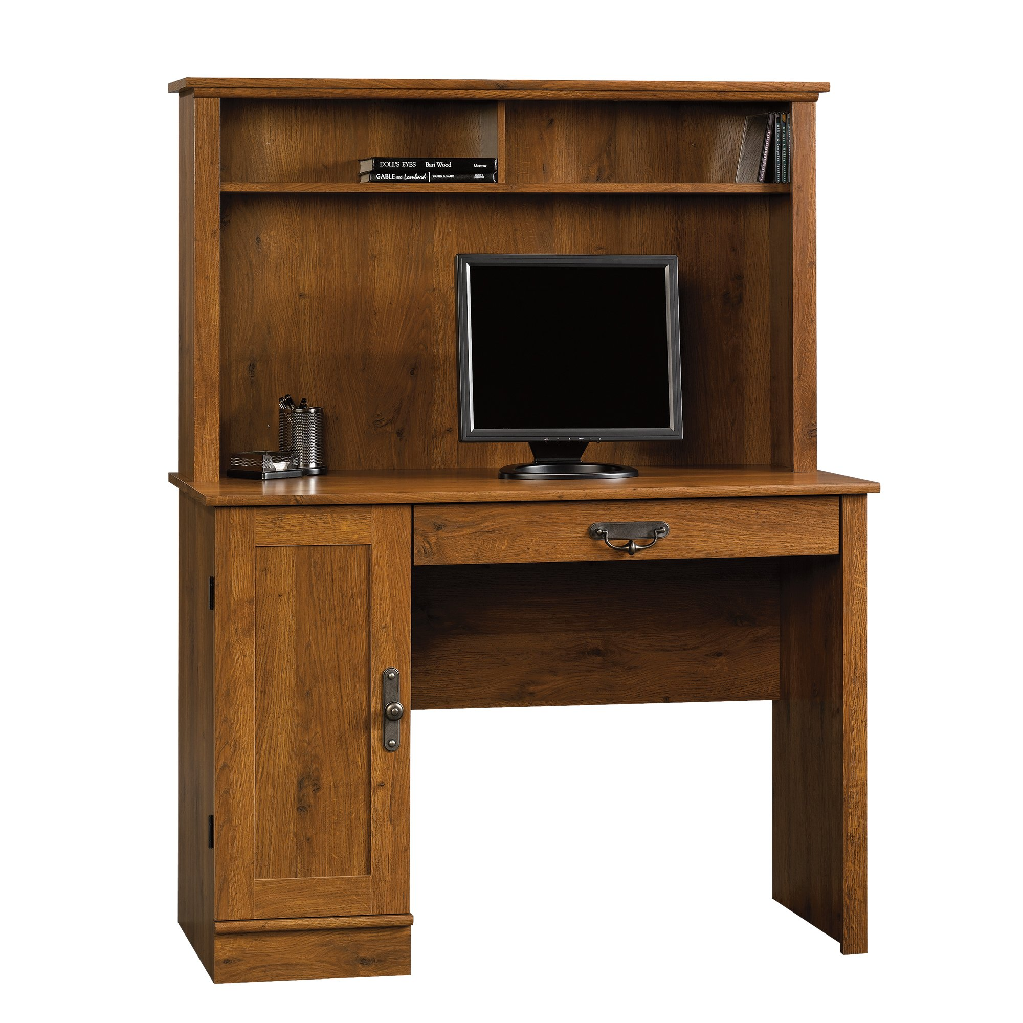 Sauder 404961 Harvest Mill Computer Desk with Hutch, L: 43.47'' x W: 19.45'' x H: 56.30'', Abbey Oak finish by Sauder