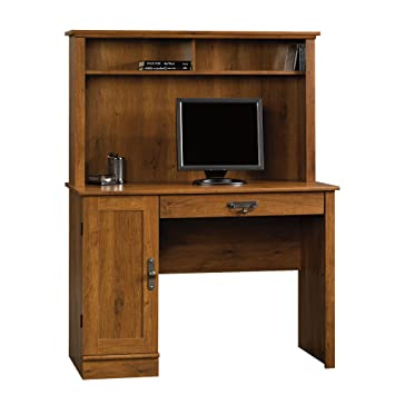 sauder harvest mill computer desk with hutch abbey oak finish