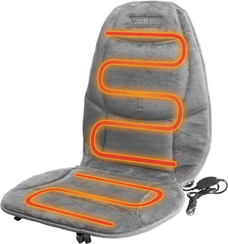 HealthMate IN9438-2 Velour 12V Heated Seat Cushion with Lumbar Support