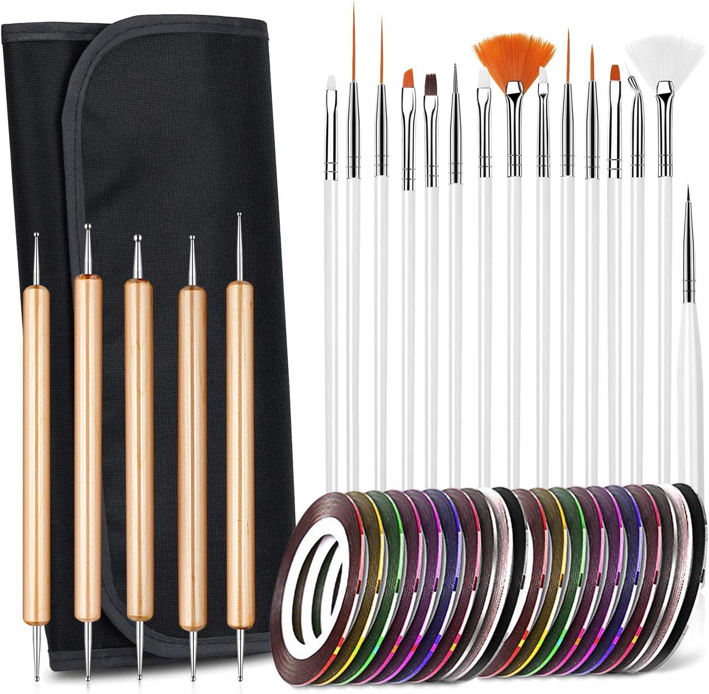 Juego de pinceles para decoración de uñas, diseño de uñas, pinceles de detalles, juego de herramientas de punteado, 15 pinceles + 5 bolígrafos de punteado + 20 rollos de cinta para uñas