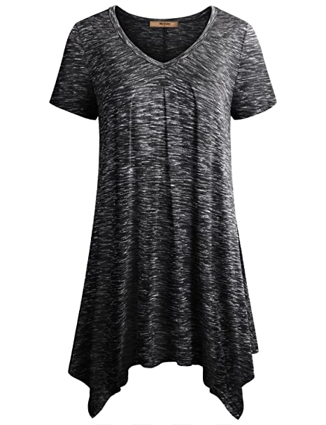6d10660eb2409c Miusey Womens Short Sleeve V Neck Flowy Tunic Top at Amazon Women s ...