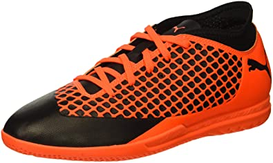 3d3cd33e3f06 PUMA Unisex Future 2.4 IT Jr Soccer Shoe Black-Shocking Orange