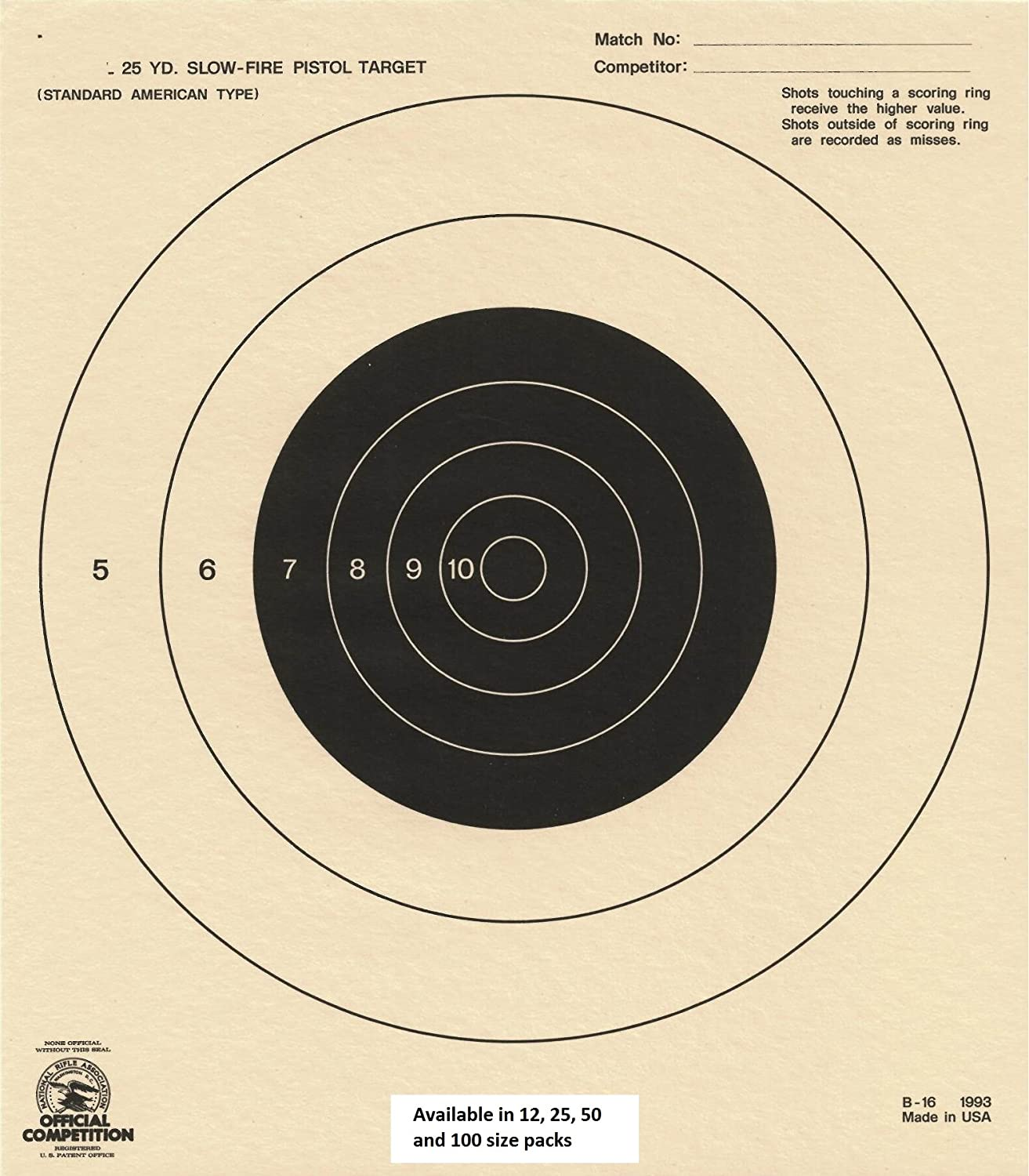 amazon com domagron 25 yard slow fire pistol target official nra