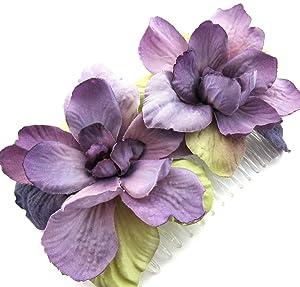 Double Lavender Apple Blossom Silk Hair Comb