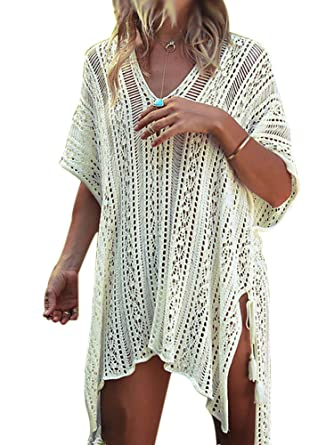 836719cfe7 Sexy Dance Womens Cover-ups Bohemian Knit Crochet Swim Bikini Tunic Beach  Dress Tops with Tassels Summer Beachwear Bathing Suit (White, ...