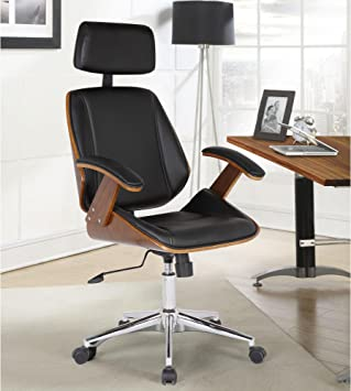 Amazon Com Armen Living Century Office Chair In Black Faux Leather And Walnut Wood Chrome Finish Furniture Decor