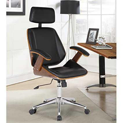 85ed408c42 Image Unavailable. Image not available for. Color  Armen Living LCCEOFCHBL Century  Office Chair in Black Faux Leather and Walnut Wood