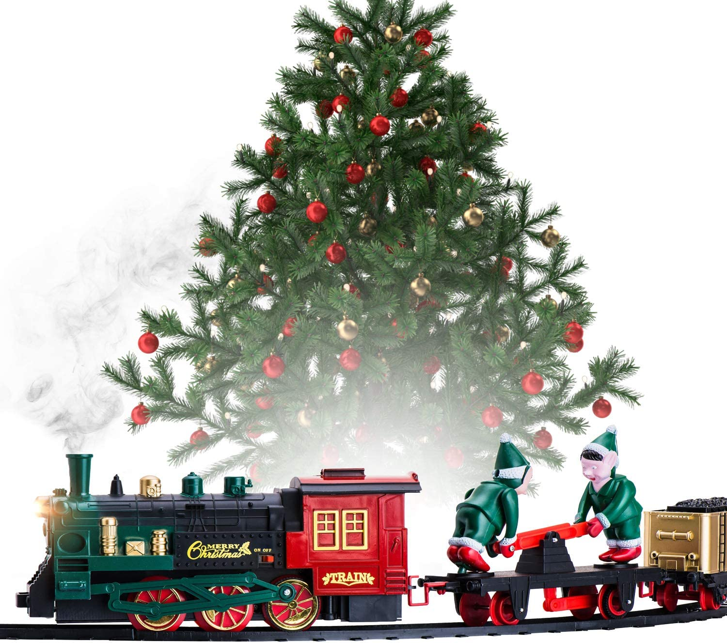 Christmas Train Set for Under the Tree with Smoke, Lights, and Sounds - Train Around Christmas Tree w/ Large Tracks | Battery Operated Electric Train Set with 160 Inches of Track and 2 Xmas Elves