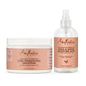 SheaMoisture Bundle Styling Cream Curly, Frizzy Hair Coconut & Hibiscus Curling Cream for Natural Hair
